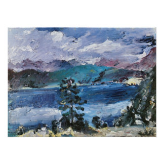 Walchensee with larch by Lovis Corinth Poster