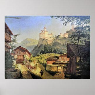 Waldbruck Castle Italy Italian Village Scene Poster