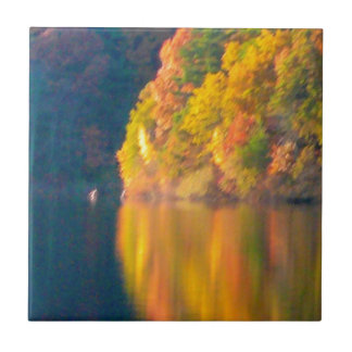 Walden Pond ceramic tile, yellow trees, reflection Small Square Tile