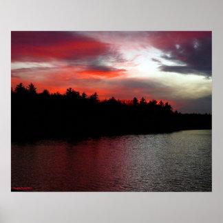 Walden Pond Poster - Deep Red Clouds