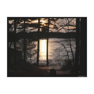 Walden Pond winter sunset reflection, pitch pines Canvas Print