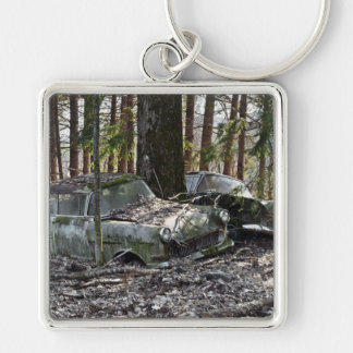 Waldfriedhof Silver-Colored Square Keychain