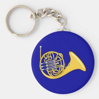Waldhorn french horn basic round button keychain