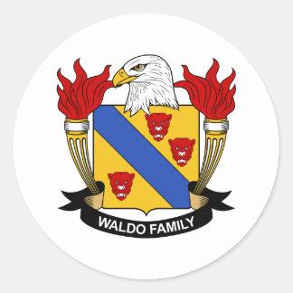 Waldo Family Crest Round Stickers