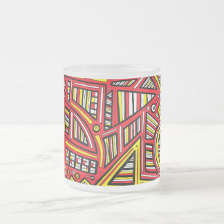 Waldrope Abstract Expression Yellow Red 10 Oz Frosted Glass Coffee Mug
