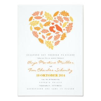 Waldvögel im Herzen mit Laub Hochzeitseinladung Card