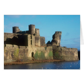 Wales - Caerphilly castle, with a view of the Greeting Card