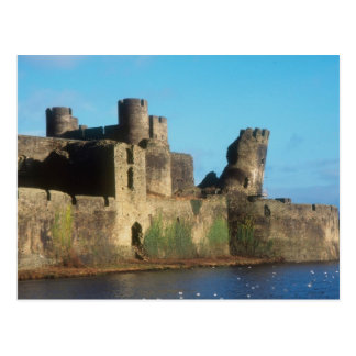 Wales - Caerphilly castle, with a view of the Postcard