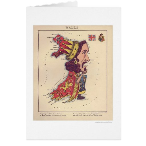Wales Caricature Map 1868 Card