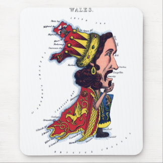Wales Caricature Map Mouse Pad