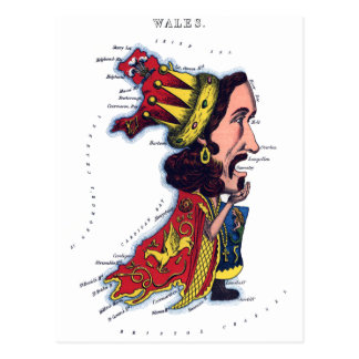 Wales Caricature Map Post Card