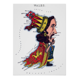 Wales Caricature Map Poster
