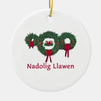 Wales Christmas 2 Ceramic Ornament