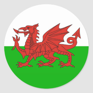 wales country dragon flag welsh british classic round sticker