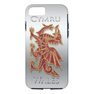Wales Cymru, Dragon, Silver Effect iPhone 7, Tough iPhone 8/7 Case