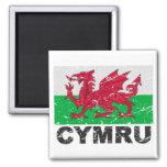 Wales CYMRU Vintage Flag 2 Inch Square Magnet