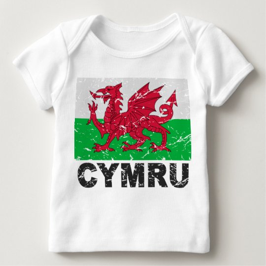 Wales CYMRU Vintage Flag Baby T-Shirt