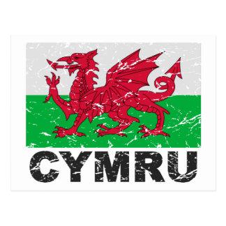 Wales CYMRU Vintage Flag Postcard