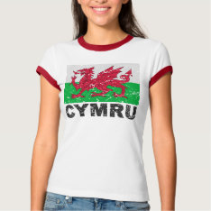 Wales Cymru Vintage Flag T-shirt at Zazzle