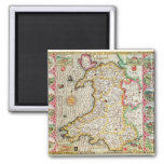 Wales, engraved by Jodocus Hondius 2 Inch Square Magnet