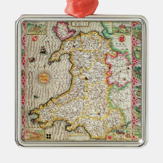 Wales, engraved by Jodocus Hondius Metal Ornament