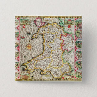Wales, engraved by Jodocus Hondius Pinback Button