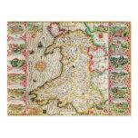 Wales, engraved by Jodocus Hondius Postcard