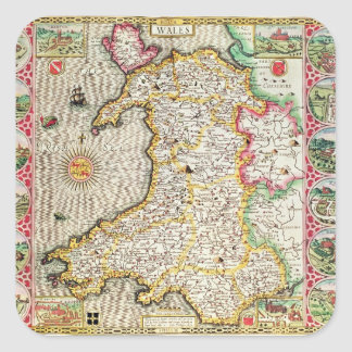 Wales, engraved by Jodocus Hondius Square Sticker