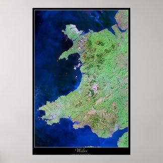 Wales, Europe satellite poster