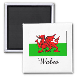 Wales Flag Design 2 Inch Square Magnet