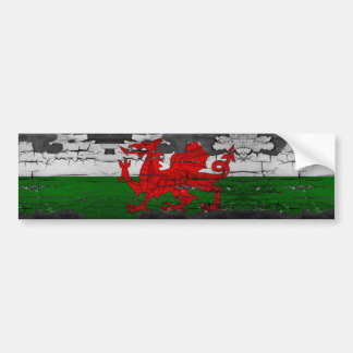 Wales Flag Distressed Bumper Sticker