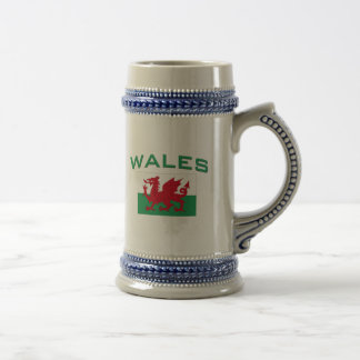 Wales Flag - Green Inscription Beer Stein