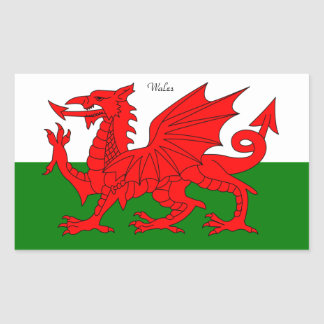 "WALES: Flag of Wales with text ""Wales"" Rectangular Sticker"