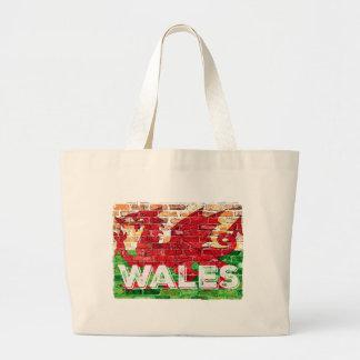Wales Flag on Brick Large Tote Bag