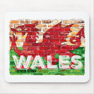 Wales Flag on Brick Mouse Pad