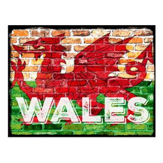 Wales Flag on Brick Postcard
