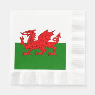 Wales flag paper napkin
