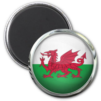 Wales Flag Round Glass Ball Magnet