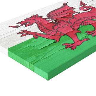 Wales Flag Weathered Paint Canvas Print