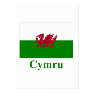 Wales Flag with Name in Welsh Postcard