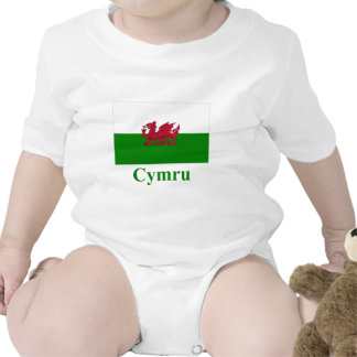 Wales Flag with Name in Welsh Bodysuits