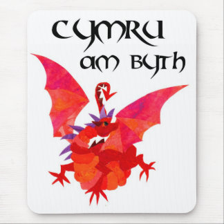 'Wales Forever!' Mousepad: Red Dragon Mouse Pad