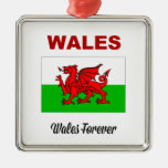 Wales Forever Square Metal Christmas Ornament