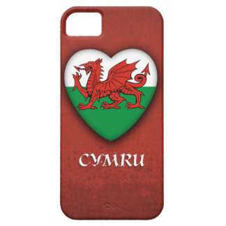 Wales Heart Flag on Red Grunge background iPhone 5 Covers