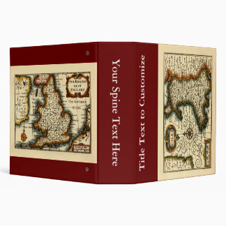 Wales - Historic 17th Century Map of Wales 3 Ring Binder