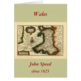 Wales - Historic 17th Century Map of Wales Card
