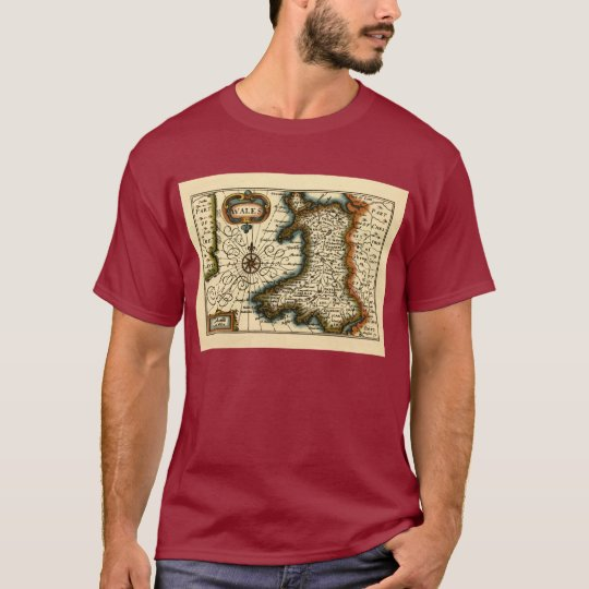 Wales - Historic 17th Century Map of Wales T-Shirt