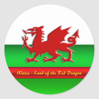 Wales - Home of the Red Dragon, metallic-effect Classic Round Sticker