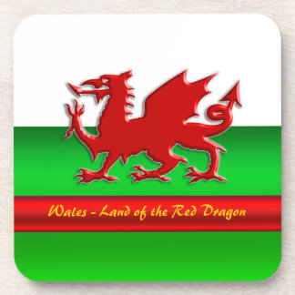 Wales - Home of the Red Dragon, metallic-effect Drink Coaster