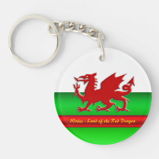 Wales - Home of the Red Dragon, metallic-effect Keychain